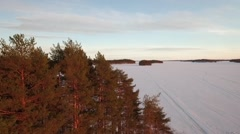Rising aerial shot of frozen lake appearing behind trees Stock Footage