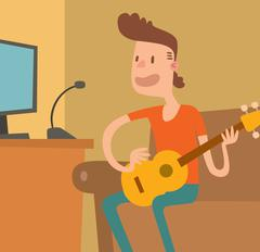 Stock Illustration of Young musician plays on the electric guitar vector illustration