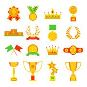 Trophy and awards icons set flat vector illustration - stock illustration