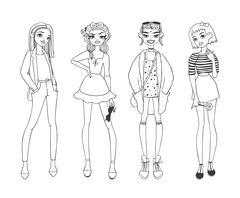 Fashion girls pure beauty colored cartoon sketch flat vector illustration - stock illustration