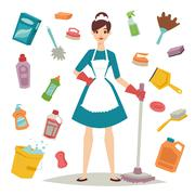 Housewife girl and home cleaning equipment icon in flat style vector Stock Illustration