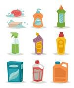 Two plastic spray cleanser bottle with cleaning liquid flat vector illustration Stock Illustration