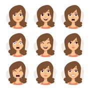 Isolated set of woman avatar expressions face emotions vector illustration - stock illustration