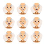 Set of an old man emotions simple flat design illustration grandpa vector Stock Illustration