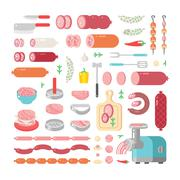Assortment variety of processed cold meat products vector icons Stock Illustration