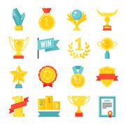 Trophy and awards icons set flat vector illustration - stock illustration