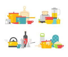 Home kitchenware devices in color vector flat illustration - stock illustration