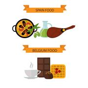 Stock Illustration of Top view showing European food and delicious elements flat vector illustration