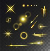Glowing lights stars glare and glow isolated vector on black transparent Stock Illustration