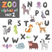 Colorful vector zoo english alphabet with cartoon animals isolated on white - stock illustration