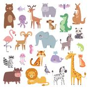 Cartoon zoo animals big set wildlife mammal flat vector illustration - stock illustration