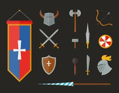 Knight armour with helmet, chest plate, shield and sword flat vector Stock Illustration
