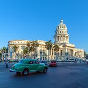 HAVANA, CUBA - APRIL 2, 2012: Heavy traffic with vintage cars - stock photo