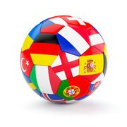 Soccer football ball with Europe countries flags Stock Illustration