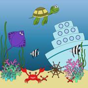Underwater animals and fish  illustration - stock illustration