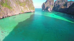 Aerial view on Maya bay, Phi Phi Leh, Thailand 4k Stock Footage