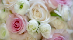 Colorful Rose Bouquet Close Up Stock Footage