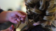 Bride Getting Her Hair Styled Stock Footage