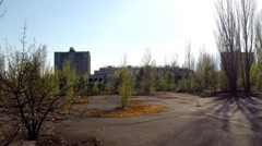 Main Square of Ghost Town Pripyat, Chernobyl Exclusion Zone, Ukraine Stock Footage