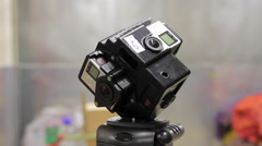 Modern 360 Degrees Video Camera. VR gopro 360 Stock Footage