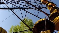 Ferris Wheel in Ghost Town Pripyat, Chernobyl Exclusion Zone, Ukraine - stock footage