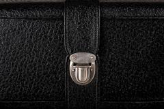 Buckle of old black leather suitcase Stock Photos