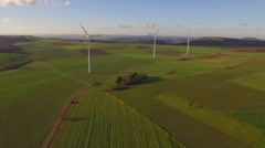 Drone footage of windmills on agricultural landscape, Stuttgart, Stock Footage