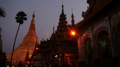 Night coming near Shwedagon pagoda in Myanmar hyperlapse Stock Footage
