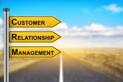 CRM or Customer relationship management words on yellow road sign - stock photo