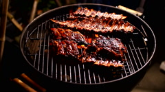 Spare ribs rubbing marinade Stock Footage