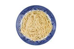 Plate of plain cooked Italian spaghetti pasta - stock photo