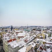 The view over the houses and the roofs from the top of Staromest - stock photo