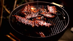 spare ribs sweet marinade painting rubbing - stock footage