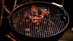 kettle grill with heat zone bbq - stock footage