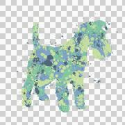 Klex: Colorful little dog with spots and dots and splashes of paint all over. - stock illustration