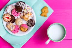 Selection of quality crunchy cookies with milk Stock Photos