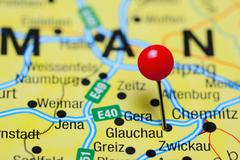 Glauchau pinned on a map of Germany - stock photo