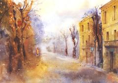 Autumn urban landscape - stock illustration