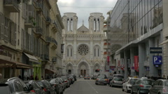 Notre-Dame de Nice Basilica seen from Avenue Notre-Dame in Nice Stock Footage
