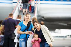Passengers on the airliner background - stock photo