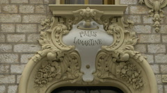 Palais Lamartine inscription on the facade of a building in Nice Stock Footage