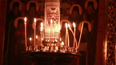 Candels in orthodox church Stock Footage