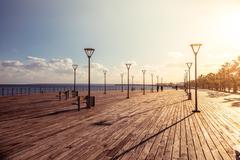 Molos Promenade on the coast of Limassol city, Cyprus - stock photo