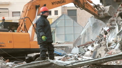 "Bulldozer demolishes shopping centre ""The Piramida"" in Moscow. Stock Footage"