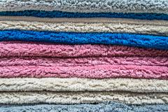 Detail of a colored wool carpet. - stock photo