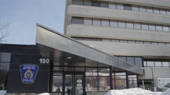Sudbury Ontario Canada Police Station in Winter Stock Footage