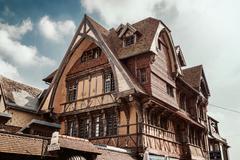 View of the Manoir de la Salamandre, a historic, lordly Tudor style house - stock photo