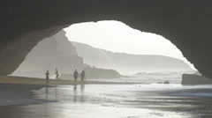Stock Video Footage of Sea arch formed by ocean erosion in Legzira, Morocco