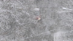 The car move in the snowy street during a heavy snowfall. Real time capture Stock Footage
