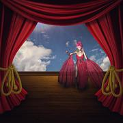 Woman on Theater Stage Stock Illustration